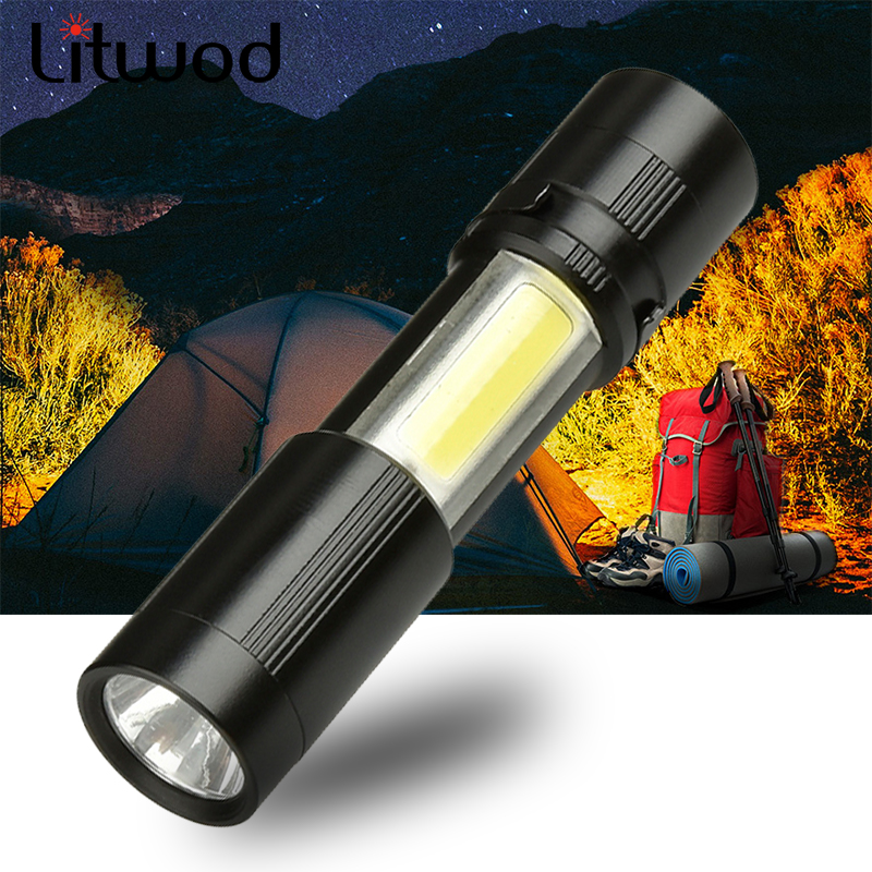 LED MINI Flashlight XPE + COB Zoomable Waterproof Aluminum 4 Modes Torch Use AAA Battery For Camping Working Bulbs Litwod 5W