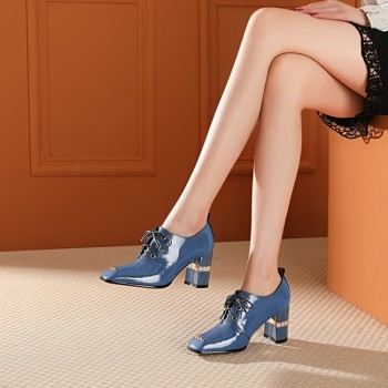 MLJUESE 2020 women pumps autumn spring soft cow leather square toe blue color crystal high heels lady shoes party size 42