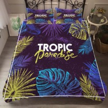 Duvet Cover Set Bedding Comforter Tropical leaves Printed Bedroom Clothes with Pillowcases for Adult King Queen Size bedding clothes home textiles dream dark purple mandala printed duvet cover with pillowcases for adult queen double size