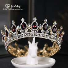 CC Large Crown Round Tiara Hairband Headpiece Wedding Hair Accessories for Women Jewelry Engagement Headdress Queen Crowns YQ20