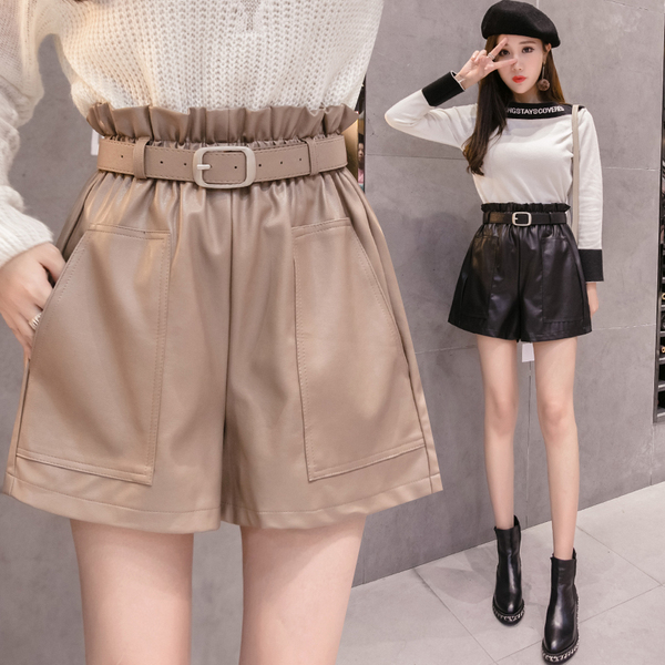 Elegant Leather Shorts Fashion High Waist Shorts Girls A-line Bottoms Wide-legged Shorts Autumn Winter Women 6312 50 11