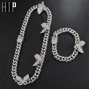 Hip Hop Iced Out Paved Rhinestones 1Set Full Miami Curb Butterfly Cuban Chain CZ Bling Rapper Necklace Bracelet For Men Jewelry