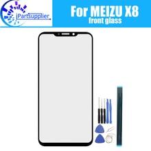 Lente de vidrio frontal para Meizu X8, 100%, pantalla táctil frontal de cristal, lente exterior para Meizu X8 + herramientas