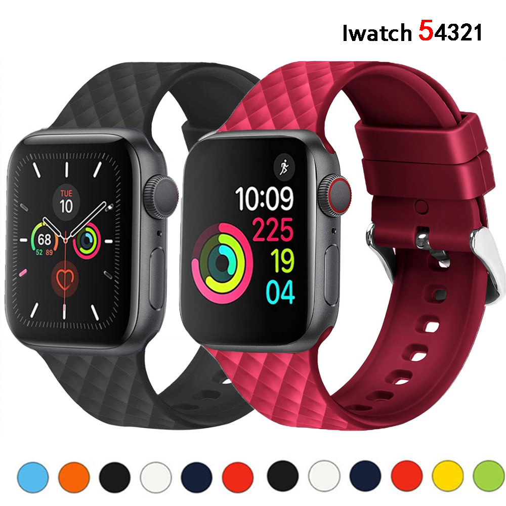 Silicone Strap For Apple Watch 5 Band 44mm 40mm Iwatch 5 4 Band 38mm 42mm Rhombic Pwatchband Bracelet Apple Watch 5 4 3 2 1 38