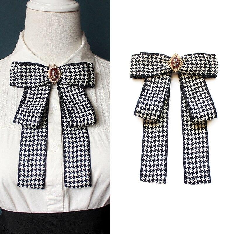 Korean Fashion Big Houndstooth Rhinestone Bow Ties Shirt Skirt Uniform Collar Lattice Plaid Classic Bowtie For Women Accessories
