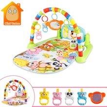 Bebê ginásio tapis quebra-cabeças esteira educacional rack brinquedos bebê música jogar esteira com teclado piano infantil fitness tapete presente para crianças