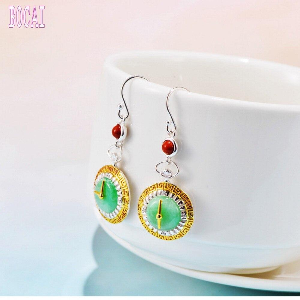 Nouveau s925 bijoux en argent sterling vintage incrusté sud rouge pierre naturelle horloge boucles d'oreilles femmes argent boucles d'oreilles