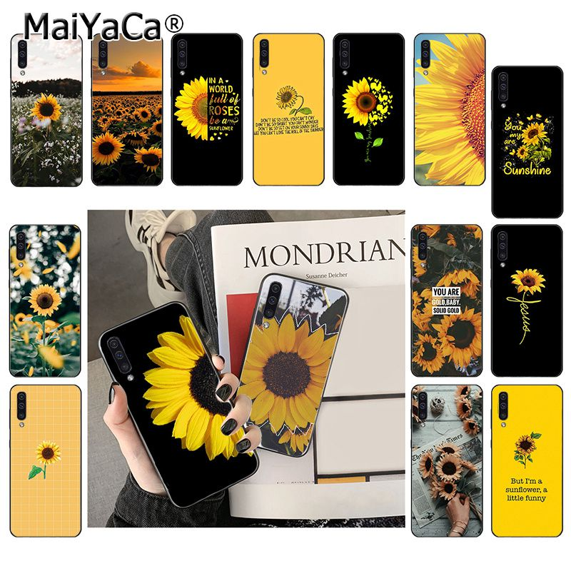 MaiYaCa Beautiful yellow <font><b>flower</b></font> sunflower Phone <font><b>Case</b></font> For <font><b>Samsung</b></font> <font><b>Galaxy</b></font> A7 A50 <font><b>A70</b></font> A40 A20 A30 A8 A6 A8 Plus A9 2018 image