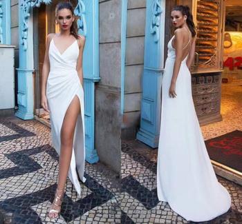 цена на New Criss-Cross Back Satin Wedding Dress Sleeveless Sexy V Neck Beach Bride Dresses Train Elegant Slit Wedding Boho Bridal Gowns