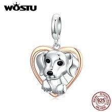 WOSTU życzliwość wisiorek dla psa 925 srebro serce koralik wisiorek z motywem zwierzęcym Fit oryginalna bransoletka biżuteria naszyjnik DIY CQC1611