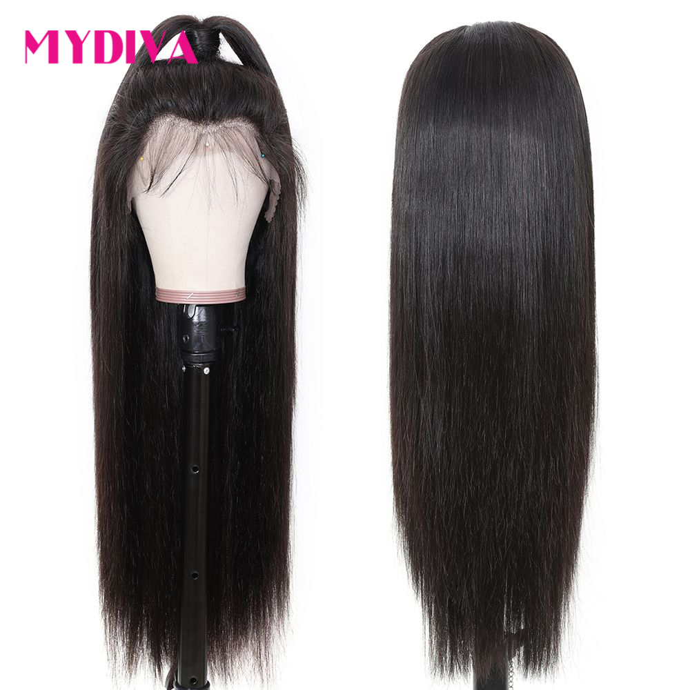 Lace Front Human Hair Wig Straight Pre Plucked Hairline Middle Part 8-26 Inch 13x4 150% Brazilian Remy Human Hair Lace Front Wig