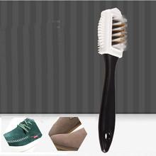 Czyszczenie butów czyszczenie butów czyszczenie butów trwałe czarne S kształt butów do czyszczenia butów 3 szczotka do czyszczenia butów bocznych Suede #37 tanie tanio RUBBER Szczotka do butów Z tworzywa sztucznego white shoe cleaner Plastikowe włosy Brush For Footwear Shoe Cleaning Kit