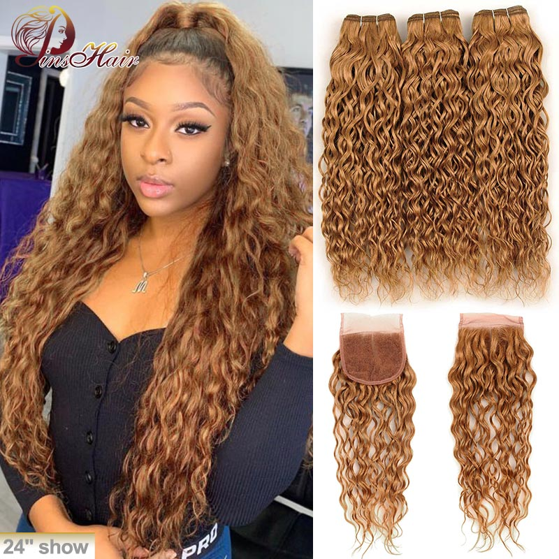 Honey Blonde 27 Water Wave Peruvian Hair 3 Bundles With Closure Blonde 100 Human Hair Bundles With Closure Pinshair Remy Hair