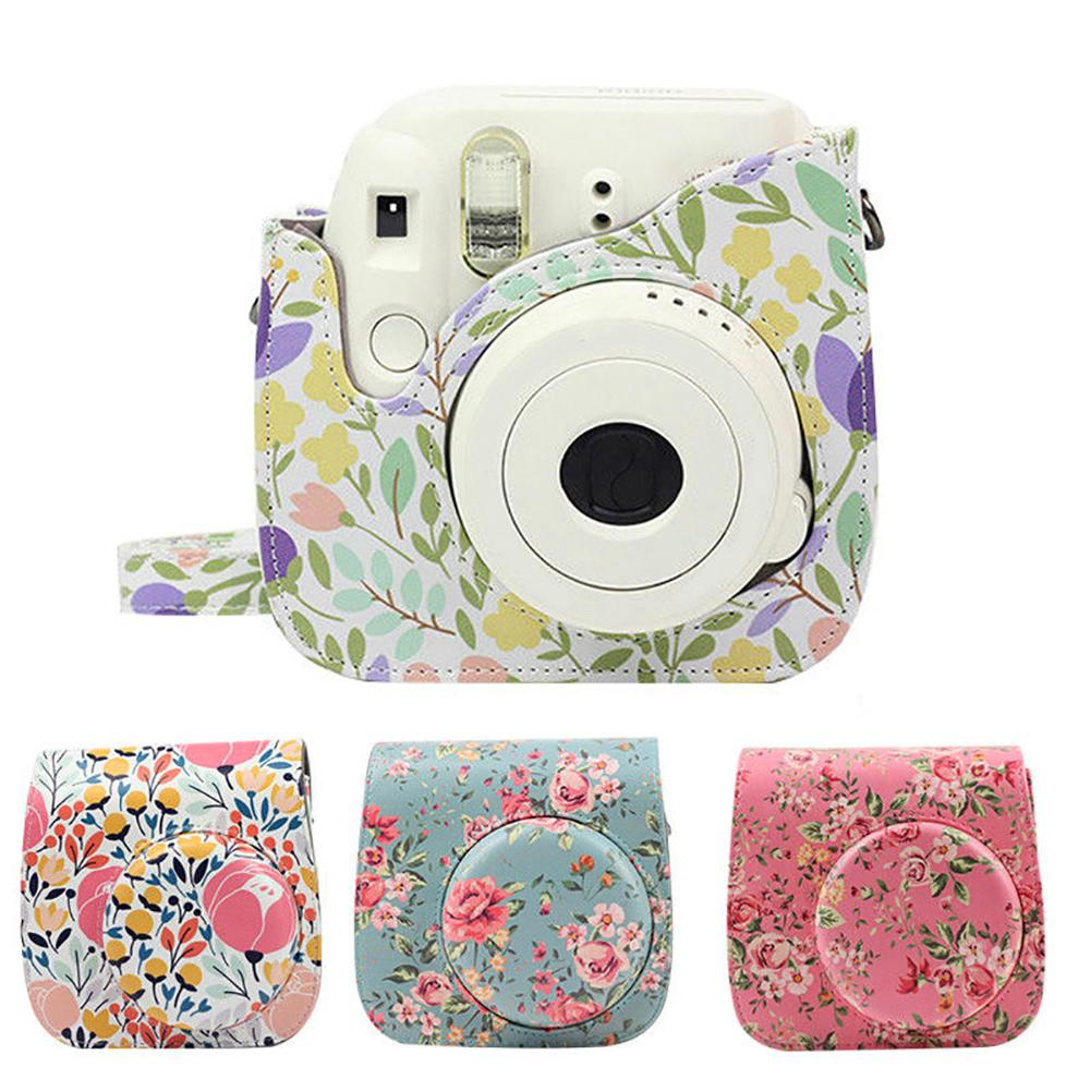 Floral Camera Case Cover Shoulder Bag for Polaroid Fujifilm Instax Mini 8/8+/9