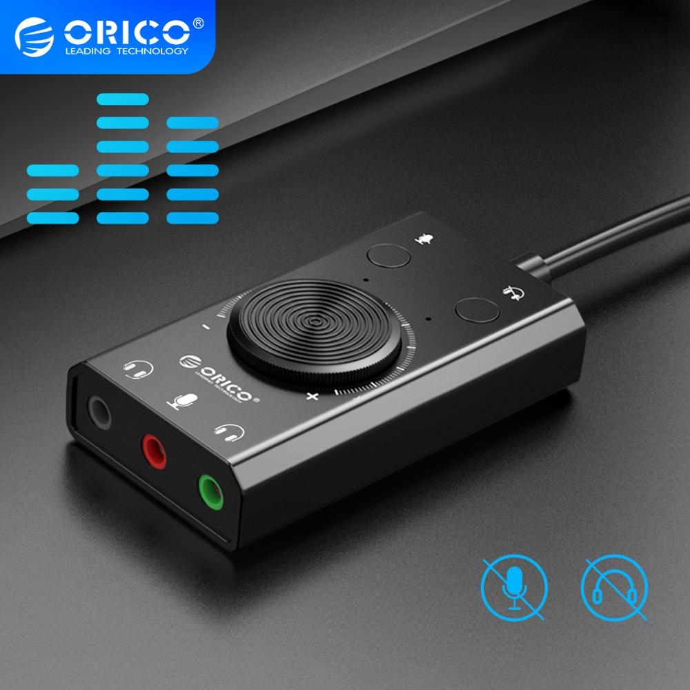 ORICO External USB Sound Card Stereo Mic Speaker Headset Audio Jack 3.5mm Cable Adapter Mute Switch Volume Adjustment Free Drive 1
