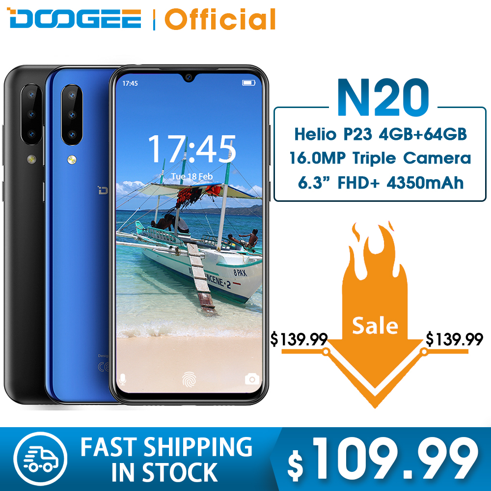 DOOGEE N20 64GB 4GB MT6763 Octa Core Mobilephone Fingerprint 6.3inch FHD+ Display 16MP Triple Back Camera 4350mAh Cellphone LTE|Cellphones| |  -