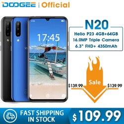 DOOGEE N20 64GB 4GB MT6763 Octa Core Mobilephone Vân Tay 6.3 Inch FHD + Màn Hình 16MP Ba Camera Sau 4350 MAh ĐTDĐ LTE