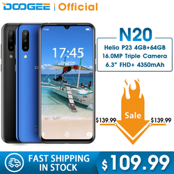Doogee N20 64 ギガバイト 4 ギガバイト MT6763 オクタコア mobilephone に指紋 6.3 インチ fhd + ディスプレイ 16MP トリプルバックカメラ 4350 mah 携帯電話 lte