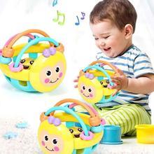 Мультяшная пчела мягкая красочная детская погремушка мяч ручной Колокольчик Обучающие Прорезыватели игрушки в подарок на день рождения развивает визуальное аудио и тактильное чувство