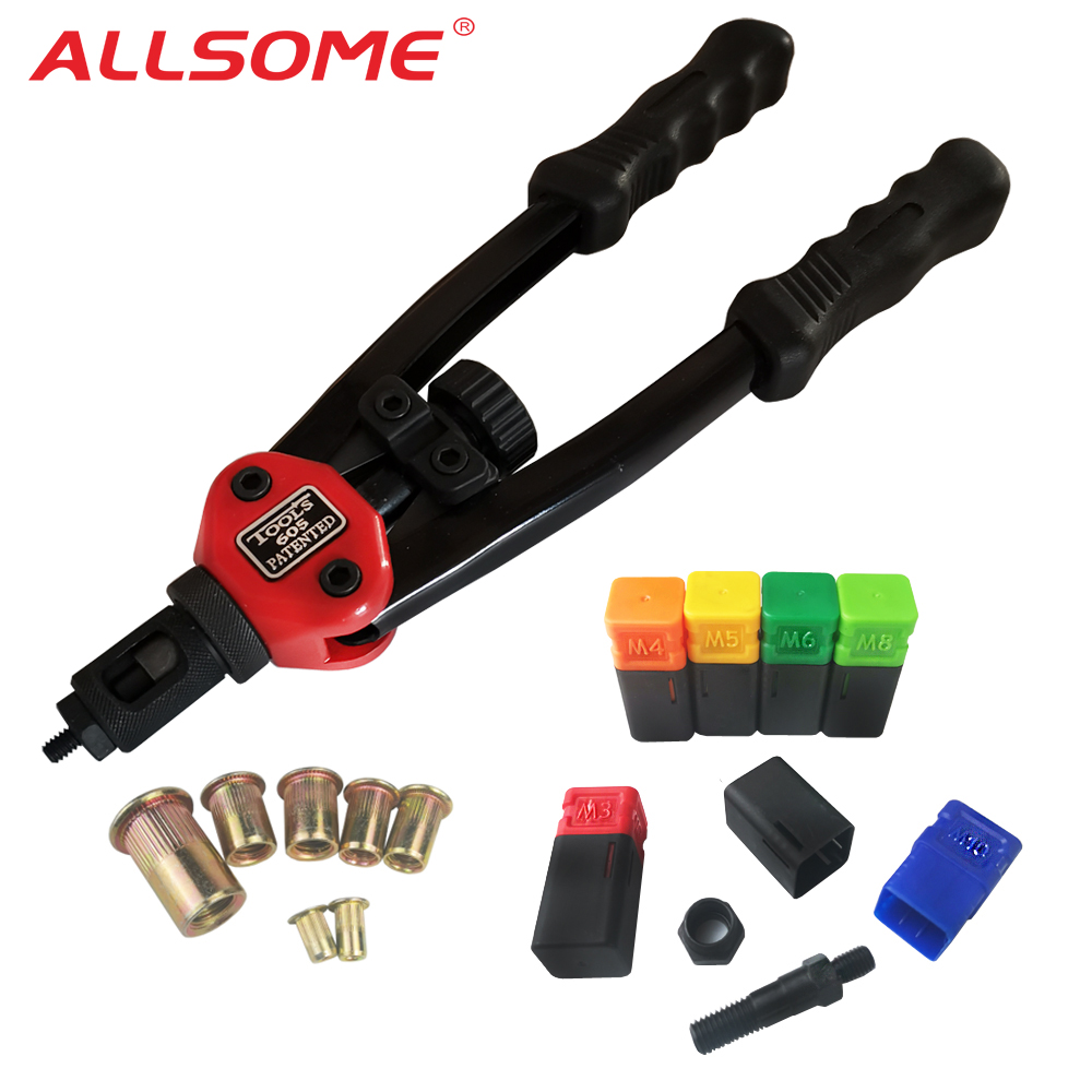 ALLSOME BT-605 RIVET NUT TOOL Hand Blind Riveter Hand Riveter Rivet Gun With 6 Metric Mandrels 60pcs Rivnuts