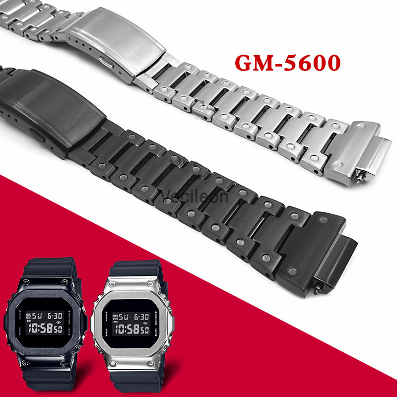 GM-5600 Watchbands And Bezel 316L Stainless Steel Watch Band And Bezel Metal Bracelet And Case Cover With Tools Holiday Gift