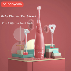BC Babycare Baby Waterproof Electric Toothbrush LED Light Smart Timer Soft Sonic Kids Teeth Brush with 2pcs Replacement Head