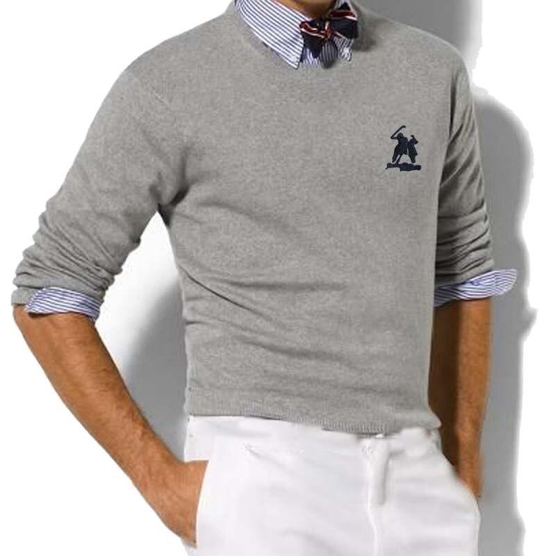 New Big Horse Logo 100% Cotton Sweater Men's Turtleneck Loose Korean Version Trend Slim Pullover Base Sweater Men's Top
