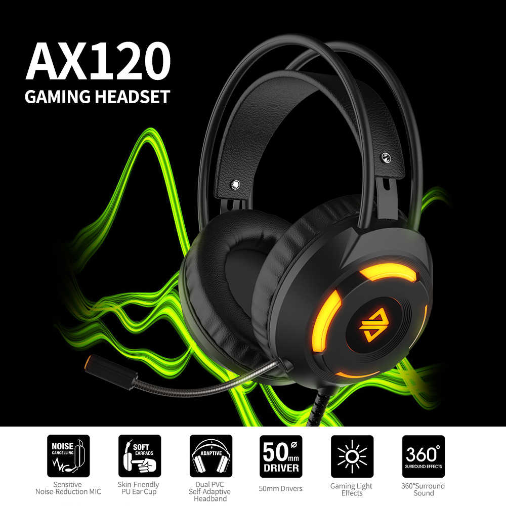 Ajazz AX120 Luminoso Auricolare Audio da 3.5mm USB Connettore 50 millimetri Surround Bass Suono di Musica Della Cuffia Microfono Omnidirezionale