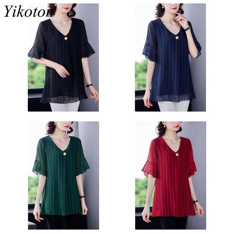 Dress Shirts Summer For Women Blouse Office Clothing Top Female Woman's Blouses Shirt V-Neck Plus Size Feminine Blusas chemise 6