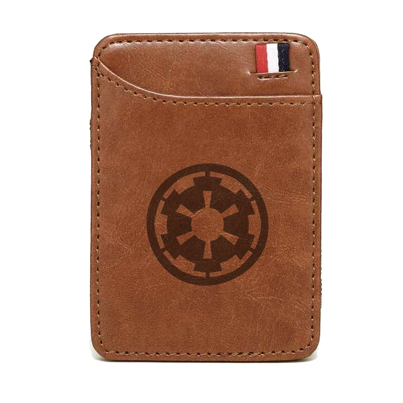 Classic Star Wars Brown Leather Wallet Retro Men Women Magic  Card Holder Bifold Clamps For Money
