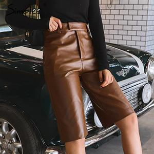 Image 2 - Simplee Pu leather pants women chic High waist motocycle female sexy half pants Autumn winter ladies party club wear bottom 2019