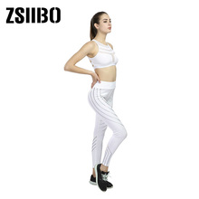 Push-Up Leggings Reflection Women Workout Fashion Pencil-Pants Night Polyester V-Waist