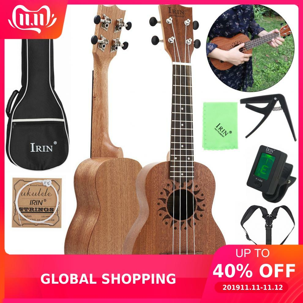 21 Inch Soprano Ukulele Sapele Wood Flower Sound Hole  15 Fret Four Strings Guitar + Bag+Tuner+String + Capo + Strap + Cloth