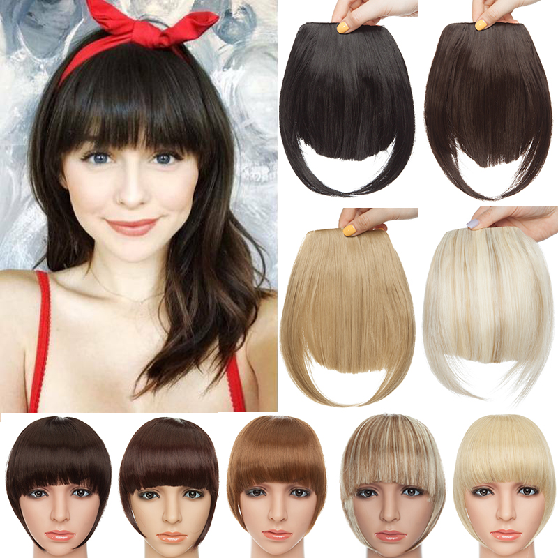 BENIHAIR Clip In Hair Bangs Hairpiece Clip In Hair Extension Synthetic Hair Extension Blunt Bangs Fake Bangs For Women
