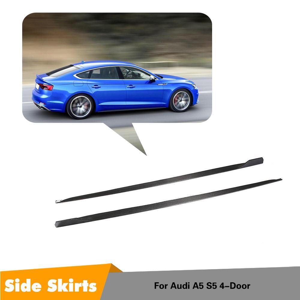 Carbon Fiber Side Skirts Door Flaps blade for Audi A5 Sline S5 4 Door 2018 2019 fender Aprons|Body Kits| |  - title=