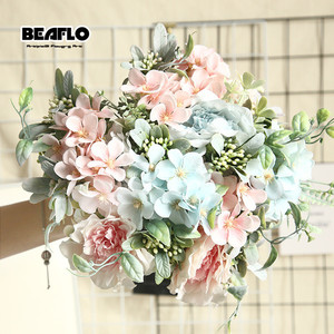1 Bouquet Camellia Artificial Peony Rose Flowers Silk Fake flores Wedding Flower DIY Home Garden Party Decoration(China)