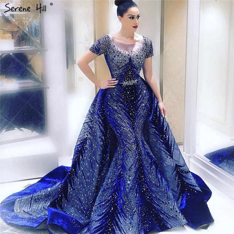 Luxury Navy Blue Latest Design Evening Dresses 2019 Long Sleeves A-Line Sexy Evening Gowns Serene Hill LA60914