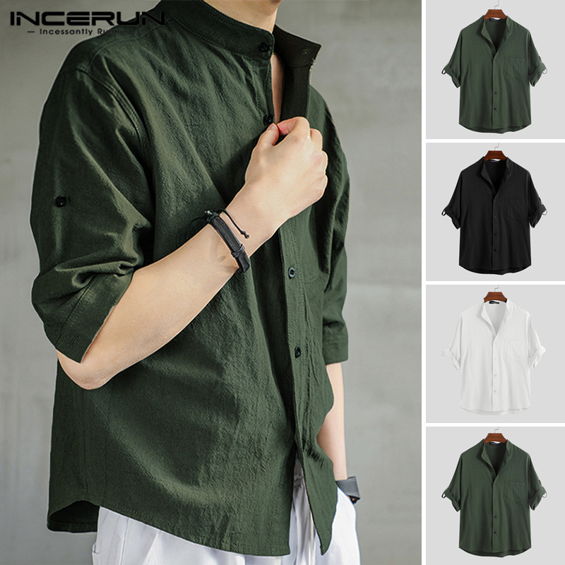 INCERUN Vintage Men Solid Color Shirt Stand Collar Cotton Breathable 3/4 Sleeve Retro Pockets Male Casual Shirts Harajuku 2020
