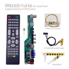 5 OSD games RR83.03D Universal LCD TV Controller Driver Board TV/AV/PC/HDMI/USB/GAME +7KEY+1ch 6bit 30pins lvds+1 lamp ccfl back