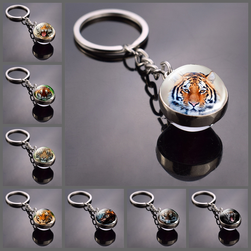 Tiger Keychain Animal Tiger Head Picture Glass Ball Key Chain Ring Keyfob Tiger Jewelry Valentine's Gifts Dropshipping