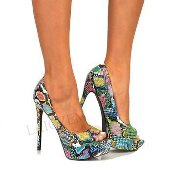LAIGZEM 2020 Women Platform Heels Multi Snake Colorful Party Pumps Shoes Woman Scarpe Donna Tacones Mujer Large Size 50 51 52