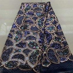 2019 neueste Afrikanische Spitze Stoff Hohe Qualität Französisch Net Stickerei Dark Blue Pailletten Tüll Spitze Stoff Für Nigerianischen Party Kleid