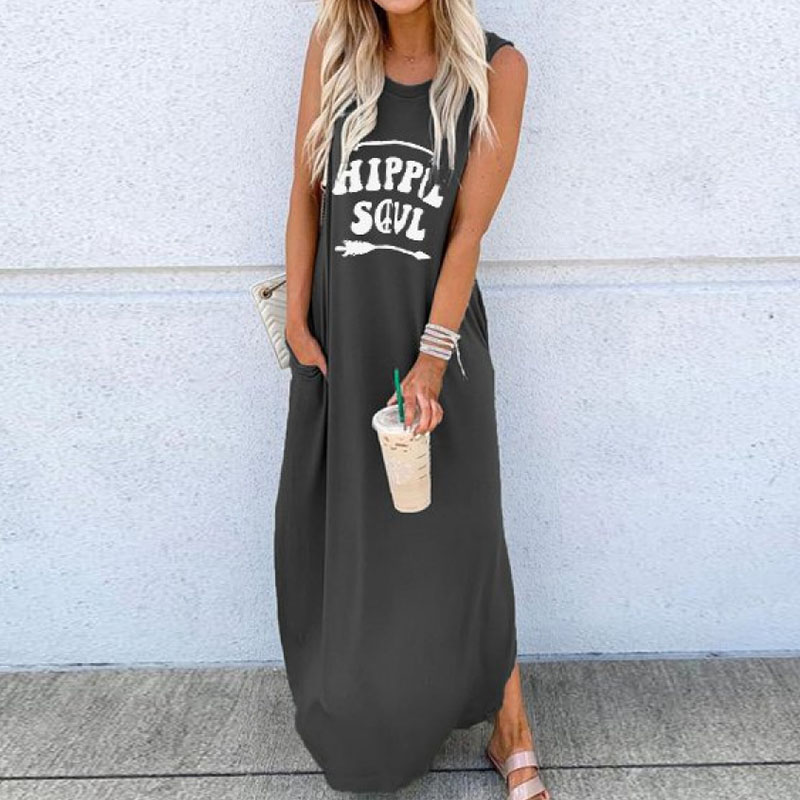 Casual Women O-Neck Long Dresses Summer Letter Printed Sleeveless Beach Sundress Daliy Boho Long Maxi Dress Vestidos