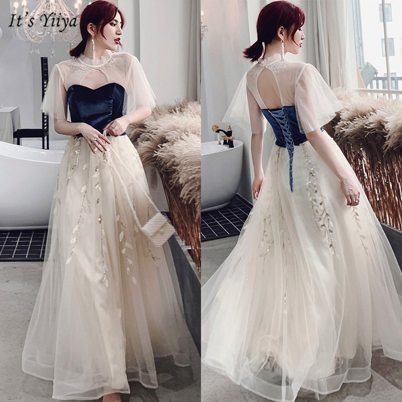 It's Yiiya Evening Dress 2019 Elegant High Neck Plus Size Short Sleeve Robe De Soiree Cut-out A-Line Women Party Dresses E1112
