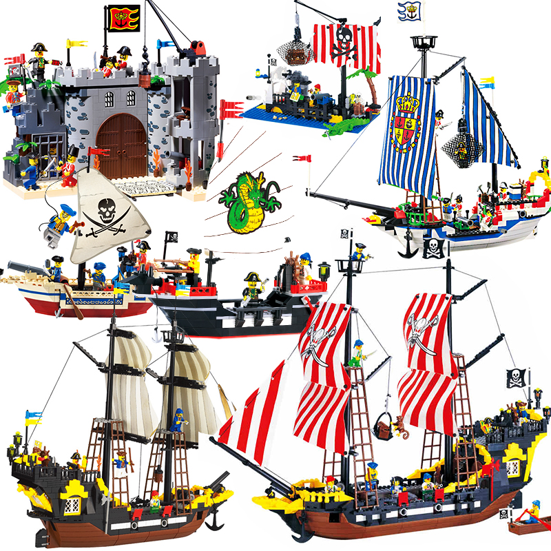 Enlighten Pirate Ships Model Compatible Legoinglys Warship Boats Castle Caribbean Pirates Medieval Figures Building Blocks Toys