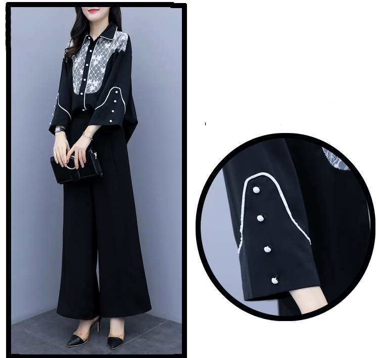 2019 Autumn Black Elegant Two Piece Sets Outfits Women Printed Tops And Wide Leg Pants Suits Office Korean Fashion 2 Piece Sets 34