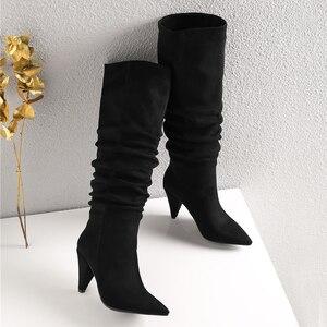 Image 3 - Meotina חורף הברך גבוהה מגפי נשים קפלים ספייק עקבים ארוך מגפי מחודדת הבוהן סופר גבוהה העקב נעלי גבירותיי סתיו אדום גודל 34 43