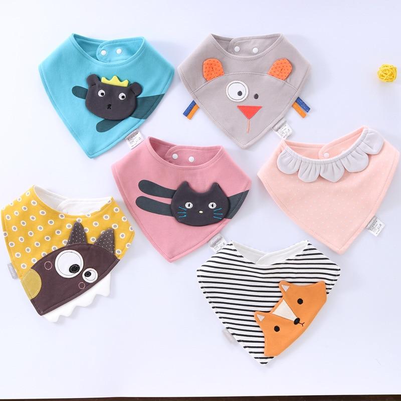 Newborn Baby Bibs 3D Cartoon Cat Fox Cute Drooling Saliva Towel Cotton Double-layer Snap Triangle Scarf Baby Burp Cloths