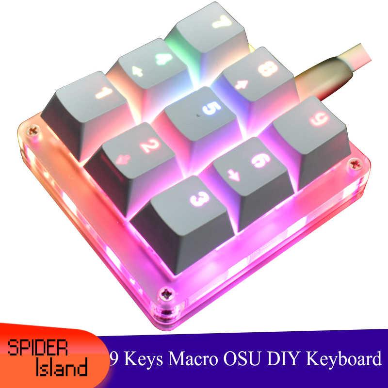 mini tastiera da gioco per computer portatili Tastiera numerica meccanica RGB tastierino numerico con 13 LED retroilluminato interruttore blu 21 tasti con cavo USB
