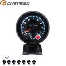 CNSPEED 80 мм Автомобильный Тахометр, датчик 0-8000 об/мин, подходит для 4, 6, 8 цилиндров, 7 цветов, светодиодный светильник, 12 В, сменный светильник, YC100142-CN